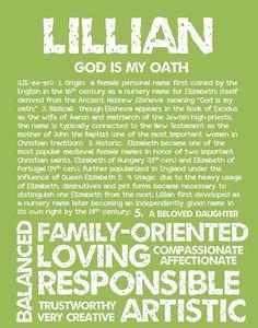 LILLIAN Personalized Name Print / Typography Print by OhBabyNames