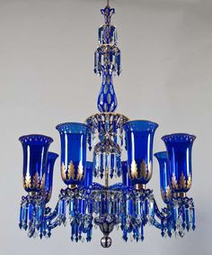 Important Blue Glass Chandelier and Pair of Matching Wall Lights by F&C Osler | From a unique collection of antique and modern chandeliers and pendants  at http://www.1stdibs.com/furniture/lighting/chandeliers-pendant-lights/