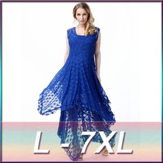 New High quality 2016 Womens Sexy Lace Embroidery Long Maxi Dress Dress  Vestidos Plus Size M-5XL Plus size Big yards