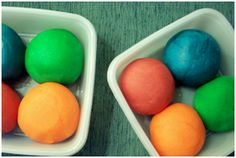 SUPER easy homemade playdough: 1 cup salt, 1 cup water, 1/2 cup white flour, food coloring. Mix and cook in a sauce pan on low for 5ish minutes. Removed from heat and cool - that's it!