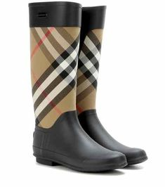 Clemence check rubber boots   Burberry  rainfootwearfashion Burberry  London, Black Wellington Boots, Black 15623168c6f