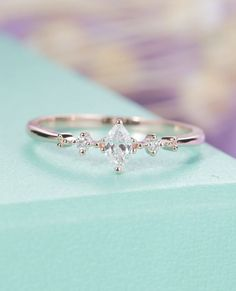Marquise cut diamond engagement ring Three stone Cluster engagement ring Bridal Jewelry Dainty wedding women Simple Promise Anniversary gift by HelloRing on Etsy #DiamondEngagementRingsimple
