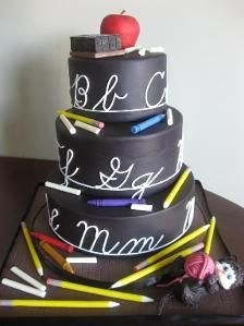 June 2015 - A special cursive writing, teacher themed cake for my Aunt's birthday. School Cake, School Treats, Fondant Cakes, Cupcake Cakes, Cupcakes, Retirement Cakes, Teacher Retirement, Chalkboard Cake, Wax Paper Transfers
