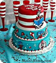 Stash Mama: Sweet Chloes Cat in the Hat cake Check out the website to see Dr. Seuss, Dr Seuss Cake, Second Birthday Ideas, 1st Birthday Girls, Dr Seuss Party Ideas, Gateau Baby Shower, Cat In The Hat Party, Create A Cake, Hat Cake
