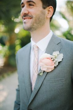 #Groom #Boutonniere #ranunculus | Photography by sheachristine.com | Design + Planning by alovefordetail.com | Floral Design by juliarohdedesigns.com |   Read more - http://www.stylemepretty.com/2013/07/11/miami-wedding-from-shea-christine-a-love-for-detail/