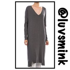 V NECK CASUAL TUNIC KNIT DRESS IN CHARCOAL - M/L Comfy, V neck, long knit dress feels like a soft lightweight fleece against your skin.  Ribbed around neck and bottom to finish. Two great colors available: Ivory and Charcoal. 55/45 Cotton/Rayon, Length is 47 inches.  Great to belt, or layer. Wear over boots for a very chic look. Sized S/M and M/L, limited quantities. NO HOLDS/TRADES. Price is FIRM, unless bundled. This listing is for a M/L in CHARCOAL debut Tops Tunics