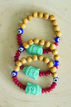 This Bracelet features agate and wooden beads Handling time 2-4 Business days