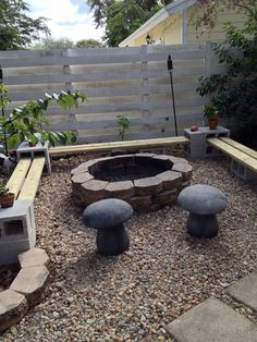 Easy to make a bench around firepit, all you need is 24 cinder blocks and 6 2x6 pressure treated wood,