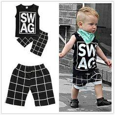 Summer kids clothes sets boy Sleeveless Letter t-shirt Plaid shorts clothing set For Summer