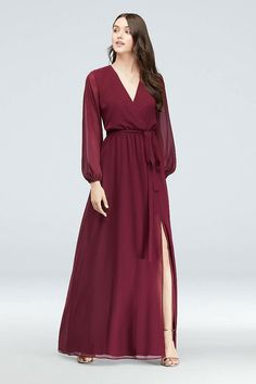 The surplice neckline and elastic waist of this faux-wrap chiffon gown flatter your figure, as long sheer sleeves provide an unexpected touch. DB Studio, exclusively at David\'s Bridal Polyester P Maxi Dress Wedding, Red Wedding Dresses, Wedding Dress Styles, Bridesmaid Dresses, Wedding Outfits, Bride Dresses, Prom Dress, Cheap Long Dresses, Simple Dresses