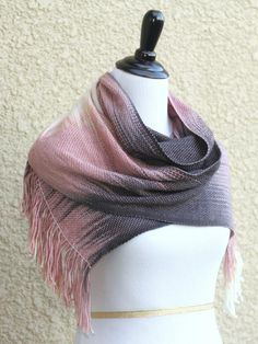 1e04a155d89c2 Woven scarf, #pashmina with gradually changing colors from cream to pink