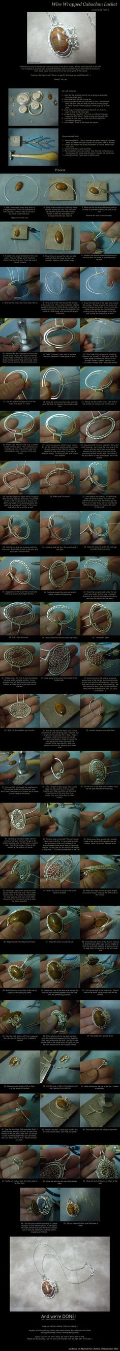 Wire Wrapped Cabochon Locket Tutorial by *AMyriadVice. To see a frame by frame tutorial, click on the pin, when it comes up click a second time, then click on the film strip once.