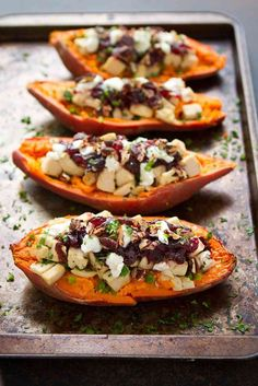 Leftovers have never tasted so good! These turkey (or chicken), cranberry and goat cheese stuffed sweet potatoes are healthy and delicious.