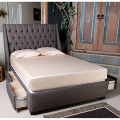 $1159 - Cambridge Upholstered Storage Bed by Seahawk Designs | Fabric Upholstered Bed Platform Headboard Under Storage Drawers Complete