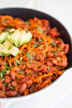 Baked Beans with Spiralized Sweet Potatoes