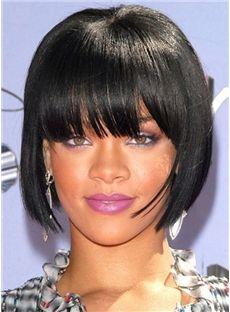 Simple Short Straight Black Full Bang Wigs for Women 12 Inch : fairywigs.com
