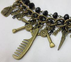 Back in stock!! Hairdresser Charm Bracelet in Bronze   by UnfeatherbyRobyn, $32.00