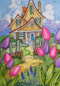 """Daily Paintworks - """"Tis Tulip Time Little Storybook Cottage Series"""" - Original Fine Art for Sale - © Alida Akers"""
