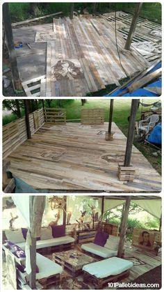 Pallet Deck - DIY Patio Furniture   101 Pallet Ideas