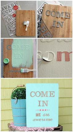 Easily create a wooden sign with reusable stencil masks @gracenfaithsmom