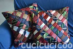 cucicucicoo: Repurposed neck tie pillow