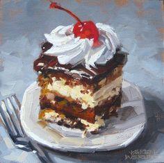 Tuxedo Cake Karen Werner Oil on panel – Kunst – Donuts Painting Still Life, Still Life Art, Illustration Dessert, Tuxedo Cake, Food Painting, Painted Cakes, Food Drawing, Pastel Art, Macaron