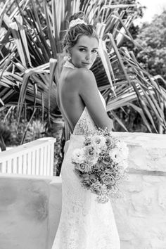 Emmy Mae Bridal INDIGO - Indigo's high neckline is a showstopper. Her stunning low back demands attention and is the perfect style for the statement-making bride. Bridal Dresses, Flower Girl Dresses, Home Wedding, Halter Neck, Indigo, Fashion Dresses, Neckline, Weddings, Bride