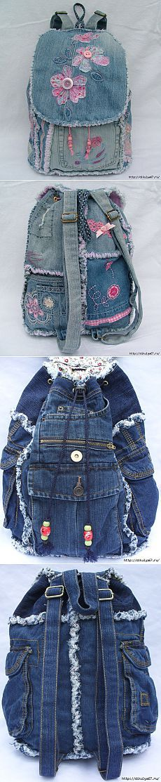 Practical and sturdy backpacks of jeans - Crafts