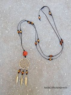 Halloween Women Long Crystal Necklace with Orange Skull, Gold-tone Dreamcatcher and Feathers Halloween Men, Halloween Jewelry, Greek Jewelry, Crystal Necklace, Feathers, Jewelry Design, Women Jewelry, Skull, Orange