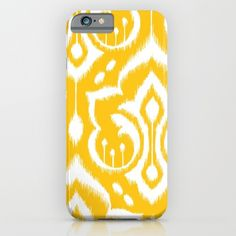 A handdrawn damask pattern with an ikat look in a super happy goldenrod color. :)