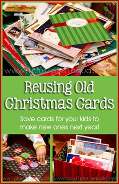 Reusing Old Christmas Cards ~ save cards for kids to make cards and collages. Might be nice for the girls to make cards for seniors in nursing homes next year. Christmas Card Crafts, Old Christmas, Christmas Activities, Christmas Printables, Simple Christmas, Holiday Crafts, Vintage Christmas, Christmas Ideas, Christmas Decorations