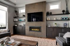 Built ins around fireplace