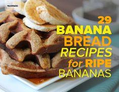 29 Banana Bread Recipes for Ripe Bananas - Paleo Recipes For Old Bananas, Banana Recipes Easy, Ripe Banana Recipe, No Dairy Recipes, Sweet Recipes, Real Food Recipes, Baking Recipes, Healthy Recipes, Baking Ideas