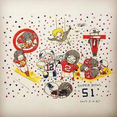 お疲れさまでした! SB史上初と印象に残ったプレーを盛り込んだイラスト  #SB51 #NFL #superbowl #illustration #illustrator #drawing #イラストレーター #イラスト #おえかき #らくがき #アメフト #rioka_dn_sports #NE #ATL