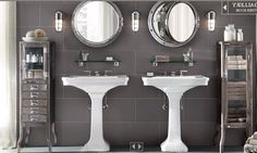 Royal Naval Porthole Mirrored Medicine Cabinet + slate tile + pedestal sinks bath under stairs Restoration Hardware Bathroom, Mirror Restoration, Porthole Mirror, Medicine Cabinet Mirror, Medicine Cabinets, Nautical Bathrooms, Modern Bathrooms, Master Bathrooms, Up House