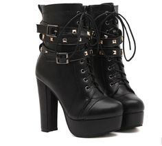 2017 Womens Rivet Lace-Up Buckle Block High Heels Military Combat Boots Shoes