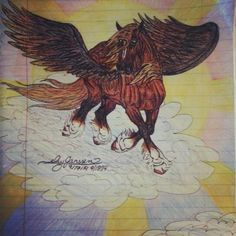 """Thorontur"" an elvish word meaning ""power of an Eagle"". Art by Ivy Janssen 9/17-18/14 Colored pencil and pen on lined paper"