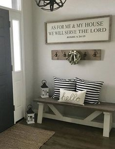 78 Gorgeous Interior Farmhouse Decor Ideas for Your Home - Wohnaccessoires Foyer Decorating, Decorating Your Home, Decorating Ideas, Interior Decorating, Farmhouse Side Table, Farmhouse Decor, Modern Farmhouse, Cheap Home Decor, Diy Home Decor