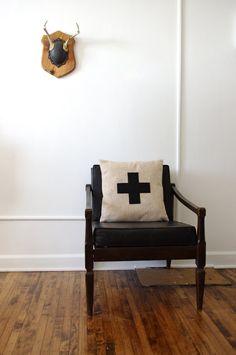 Oatmeal and Black Swiss Cross Decorative Pillow by regansbrain, $40.00