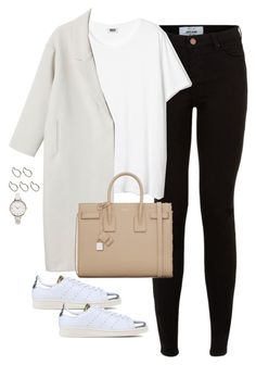 """Untitled #2387"" by mangoshop ❤ liked on Polyvore featuring Monki, ASOS Curve, Pieces, Yves Saint Laurent and adidas Originals"