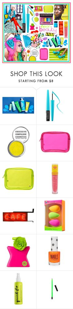 """""""Neon beauty!"""" by beanpod ❤ liked on Polyvore featuring beauty, MAKE UP FOR EVER, Obsessive Compulsive Cosmetics, Stephanie Johnson, Pop Beauty, Jeffree Star, beautyblender, Bond No. 9, Topshop and Urban Decay"""
