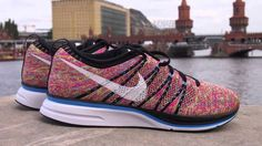 multicolor flyknit trainer on feet - Google Search