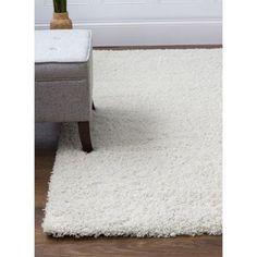 Super Area Rugs, Cozy Plush Solid White Shag Rug , 6' 7 inch x 9' 6 inch