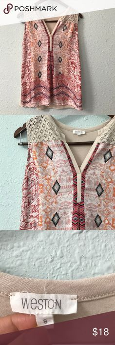 Weston Aztec & mixed prints lace tank size S This beautiful and lightweight tank from Weston features a mix of many fun prints. Measurements are included in the pictures. It is in EUC with no holes, rips, or stains. Bundle with other items from my closet for the best deal! Weston Tops Tank Tops