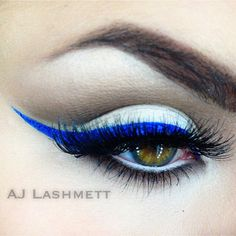 @ajlashmett's look is electrifying with NYX Studio Liquid Liner in 'Electric Blue' and Jumbo Eye Pencil in 'Milk'!