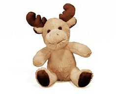 7 Inch Cream and Brown Sitting Moose Plush Figurine ^^ Additional details found at the image link  : Collectible Dolls for Home Decor