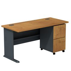 Series A Executive Desk with 2 Drawer Mobile Pedestal