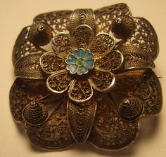 Sell one like this            Vintage Silver Filigree Flower Floral Brooch 835 OLD Beautiful Pin Blue Enamel