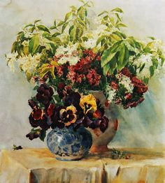 Ivan Krasnyi, Ukrainian painter (1917-1990 ). A stil life with flowers watercolour #watercolor #flowers #painting #stilllife #interiordesignideas