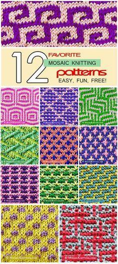 12 favorite mosaic knitting patterns. Beautiful, and very eye-catching! Update 4/2017